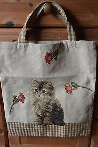 Gobelin-Tasche-Einkaufstasche-Sporttasche-Shopper-Katze-Blume-beige-NEU