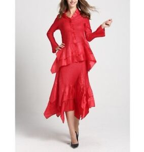 1baad2d3c26 JERRY T WOMENS RED SKIRT SUIT 1X 18 20 SKIRT SET SR 7151 NEW NWT