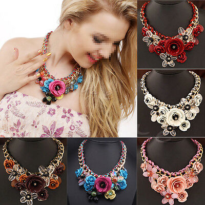 Statement Choker Flower Necklace Crystal Chunky Collar Pendant Fashion Jewelry