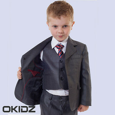 BNWT 5PCS BOYS CHRISTENING  FORMAL WEDDING SUIT DEEP BLACK GREY SZ 2-13