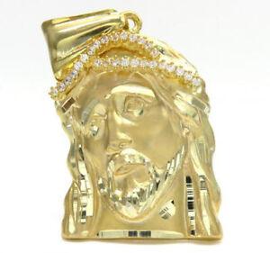 14-Grams-10K-Yellow-Real-Gold-Jesus-Face-Charm-Pendant-Mens-ladies