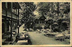 Meixmuehle-bei-Pillnitz-Ansichtskarte-1925-Waldpartie-am-Biergarten-Personen