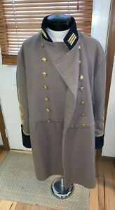 Vintage-wool-CIVIL-WAR-RE-Enactor-CONFEDERATE-Officer-Grey-FROCK-Overcoat-repro