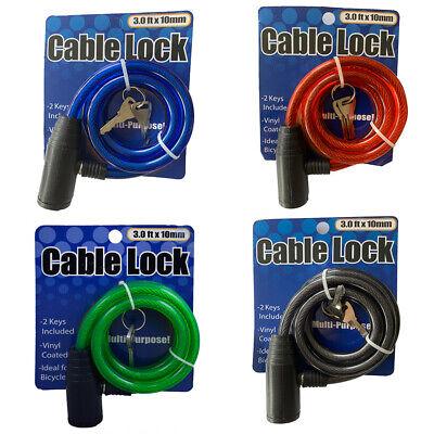 "s Bicycle Cable Lock Bike Lock Heavy Duty 10mm x 36/"" Anti Theft Device w// 2 key"