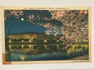 Postcard-Bureau-of-Engraving-amp-Printing-Washington-DC-Night-Scene-1947-A3