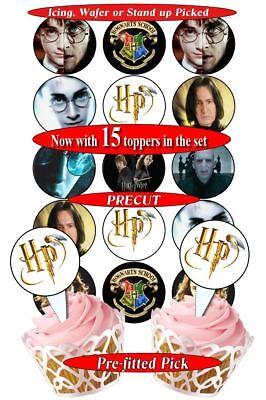 8 opciones 15 Harry Potter Crest insignias Comestible Cupcake Toppers Precortada 2 tamaños