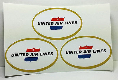 "2"" x 3"" United Air Lines Vintage Style Travel Decal, Vinyl Sticker (Sheet of 3)"