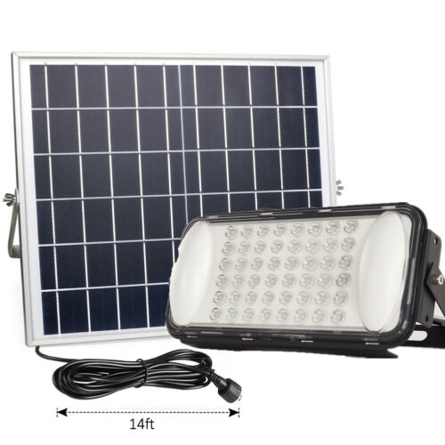Details about  /Wireless Solar Powered LED Flood Light 100W IP65 Remote Control No Motion Sensor
