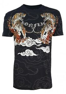 Konflic-Fighter-Men-039-s-Tiger-Tattoo-UFC-MMA-Muscle-T-Shirt