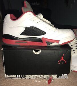 c09f1fbd618e Air Jordan 5 Retro Low Mens Size 12 White Fire-Red Black