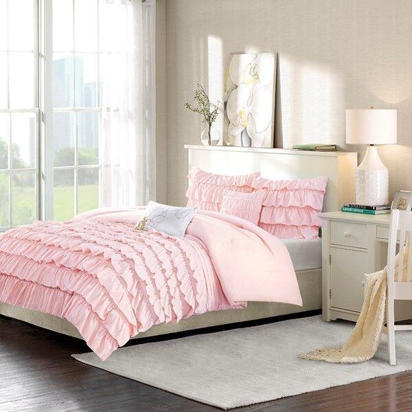bluesh Pink Ruffled Girl's Twin Comforter Set (4 Piece Bedding)