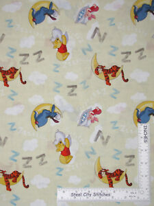 Disney-Winnie-Pooh-Eeyore-Piglet-Tigger-Sleepy-Cotton-Fabric-CP43383-By-The-Yard