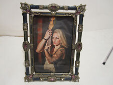 """ANTIQUE LOOKING BLUE / PURPLE AND GREEN ENAMEL JEWELED 4"""" X 6"""" PICTURE FRAME"""