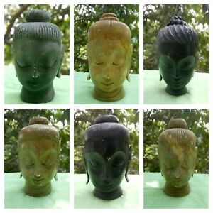 Tete-Bouddha-Statue-Marbre-Buddha-Figurine-Fait-main-Inde-Bouddhisme-Nepal