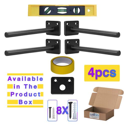 4X Heavy Duty Hidden Shelf Supports 6 inch Solid Steel Floating Shelf Bracket