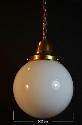 1940 art deco brass /& Opaline milk glass Light house style ceiling light lantern