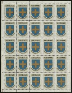 Denmark-1940-42-GUDME-Cinderella-SHEET-from-Jensen-039-s-Arms-Series-VF-NH