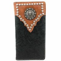 Western Cowboys Mens Tooled Pu Leather Black Longhorn Concho Bifold Wallet