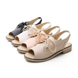 Hot Womens Flat Oxfords Open Toes Roma Retro Boots Summer Sandals Plus Size New