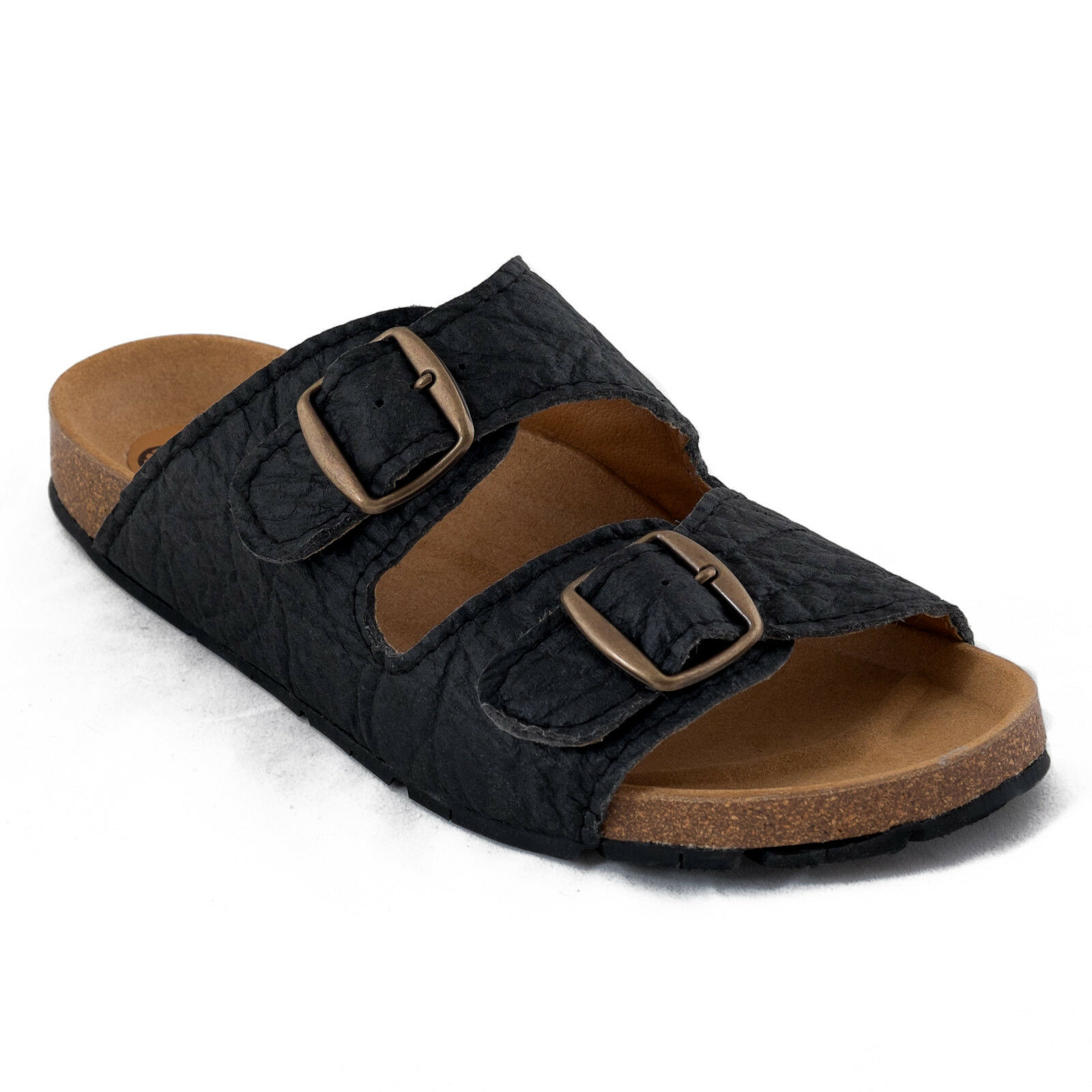 Two-Strapped Vegan Sandal Organic Piñatex Metal Buckle Ecological Breathable