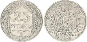 Empire 25 Pfennig J.18 1910 E Fast XF 50891