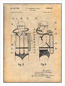 1947 jacques cousteau scuba diving unit patent print art drawing
