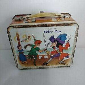 Vintage-1969-Walt-Disney-Peter-Pan-Metal-Lunch-Box-Aladdin-No-Thermos