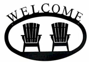 Details about Wrought Iron Welcome Sign Adirondack Chairs Silhouette Small  Outdoor Plaque Home