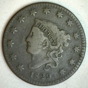 1829-Coronet-Large-Cent-US-Copper-Type-Coin-Very-Good-M7-VG