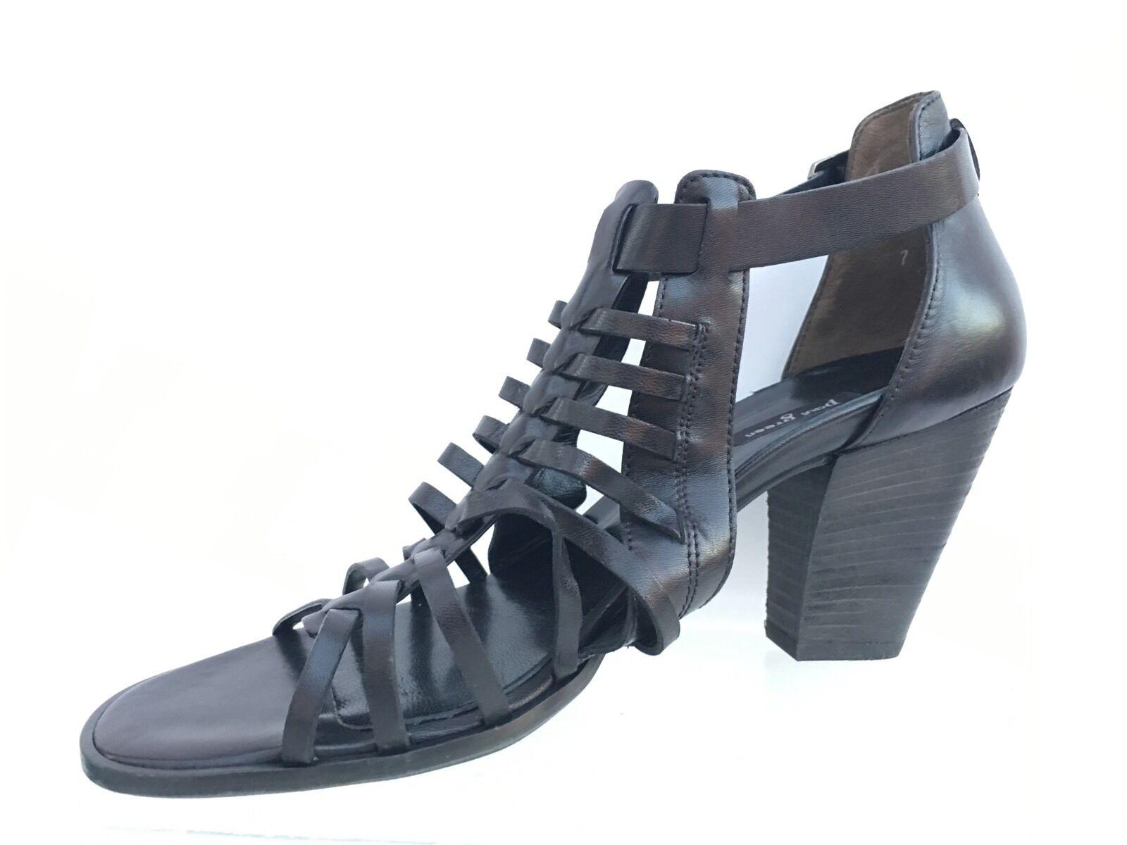 Paul Paul Paul verde Christy nero Leather Peep Toe Sandal AU 7 US 9.5 6bb347