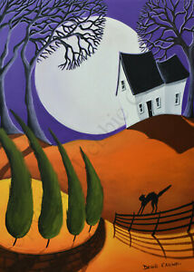 ACEO Halloween folk art print THE MISSION black cat witch flying moon DC