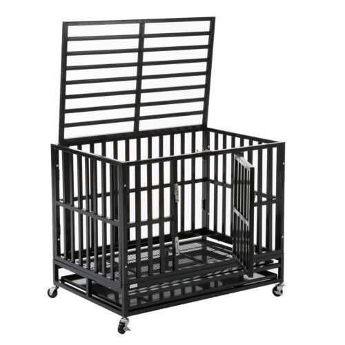 """37/"""" Dog Crate Kennel Cage Large Heavy Duty Square Tube Portable W//Wheels /& Tray"""