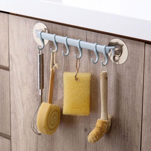 Multifunction Kitchen Storage Hook Holder 6 Hooks Wall Door Holder Hanger Rack