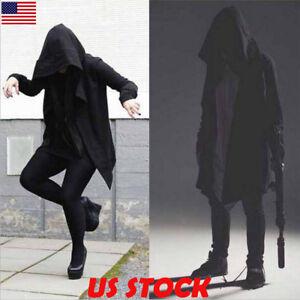 Mens-Goth-Gothic-Punk-Jacket-Hooded-Jacket-Long-Cardigan-Ninja-Hoodie-Coat-M-2XL