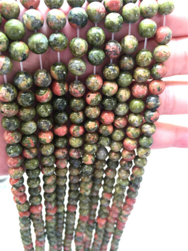 Newest 4//6//8//10//12mm pierre naturelle fleur vert Round Loose Beads Fit Bracelet