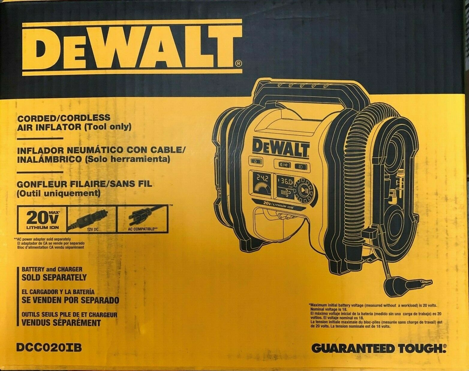 DCC020IB nailgunaccessories1 Dewalt DCC020IB Corded/Cordless Air Inflator 20 volt 12 volt DC NEW