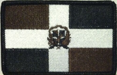 Black  Border #29 DOMINICANA Flag Iron-On Patch Black White /& Brown Version