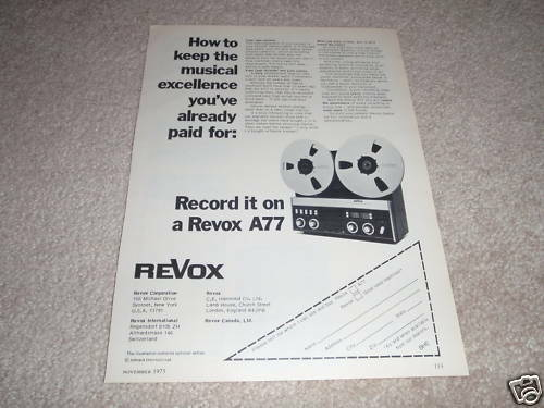 Revox A77 Open Reel Deck Ad from 1975,Article