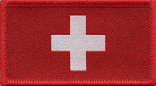 Swiss Flag Switzerland Woven Badge, Patch 8cm x 4.5cm