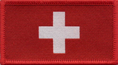Swiss Flag Switzerland Woven Badge Patch 8cm x 4.5cm