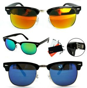 Retro-Sonnenbrille-Rechteckig-Verspiegelt-Panto-50er-Classic-Herren-Damen-BM