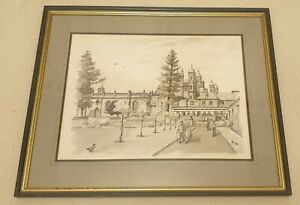 ALBIN-TROWSKI-1919-2012-painting-Capesthorne-Hall-original-signed-water-colour