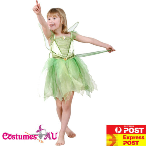 Girls Licensed Disney Tinker Bell Tinkerbell Costume Kids Fancy Dress With WINGS