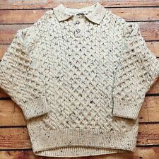 VTG IRISH FISHERMAN Aran Craft Made IRELAND Chunky S Sweater Polo Hand Knit
