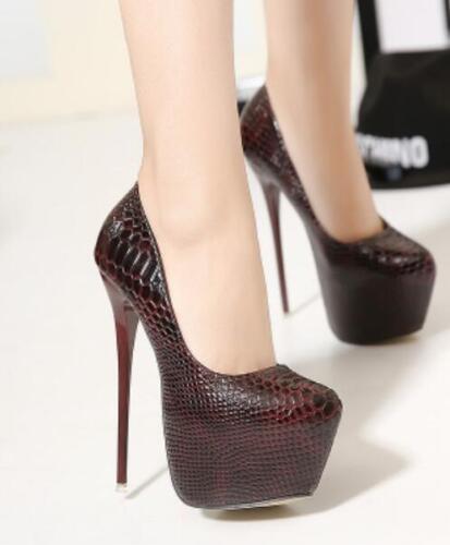Womens Round Toe Platform Stilettos Clubwear Super High Heels Shoes Pumps F874