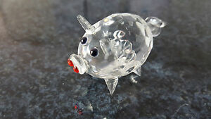 Schweinl-Glas-Tierfigur-Vitrienemodell-Setzkasten-Sammlermodell-Neu-Nr-9-K