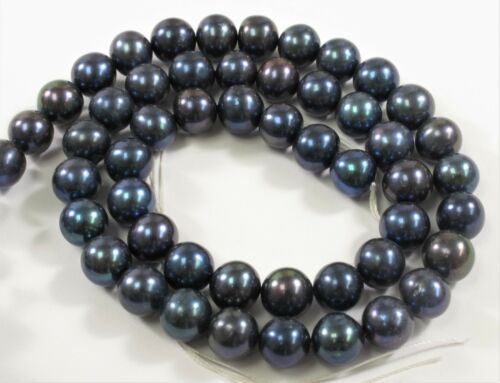 Cranberry OR Champagne 8-9 mm  Potato Freshwater Pearl Beads Dark Blue #633