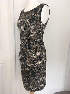 STELLA-MORGAN-Stretch-Wiggle-Bodycon-Dress-Leopard-Print-Flattering-Ruche-Size-M