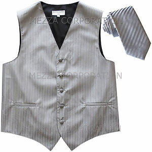 "New Men's Tuxedo Vest Vertical Stripes 2.5"" Skinny Necktie prom party Gray"