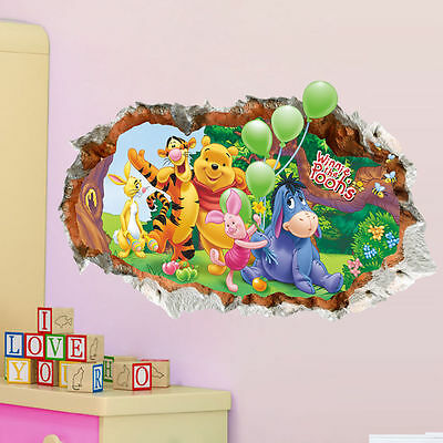 DIY 3D Winnie the pooh Wall Stickers Decals Kids Nursery Room Vinyl Art Mural